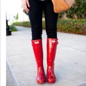 Original Tall Glossy Red Hunter Boots LIKE NEW 10
